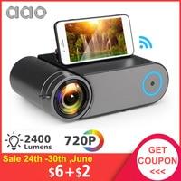 AAO YG420 Mini LED 720P Projector Native 1280x720 Portable Wireless WiFi Multi Screen Video Beamer YG421 3D AC3 HDMI Proyector