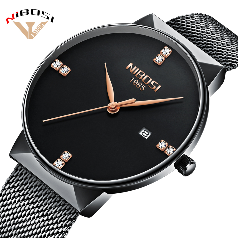 Montre Homme NIBOSI Watch Men Luxury Brand Famous Men Watches Stainless Steel Silver Quartz Wristwatches For Male Saat Mesh Band hot sale the fifth 2017 high quality brand watch men ladies watches gold mesh band wrist watch for women montre homme de marque