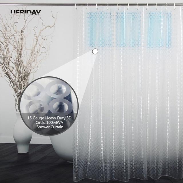 UFRIDAY Translucent Shower Curtain 3D Dots / Circles Pattern Design ...