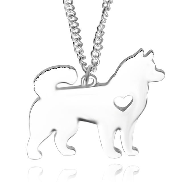 husky dog necklace creative animal models puppy pet necklace accessories animal necklaces silver gold color fashion