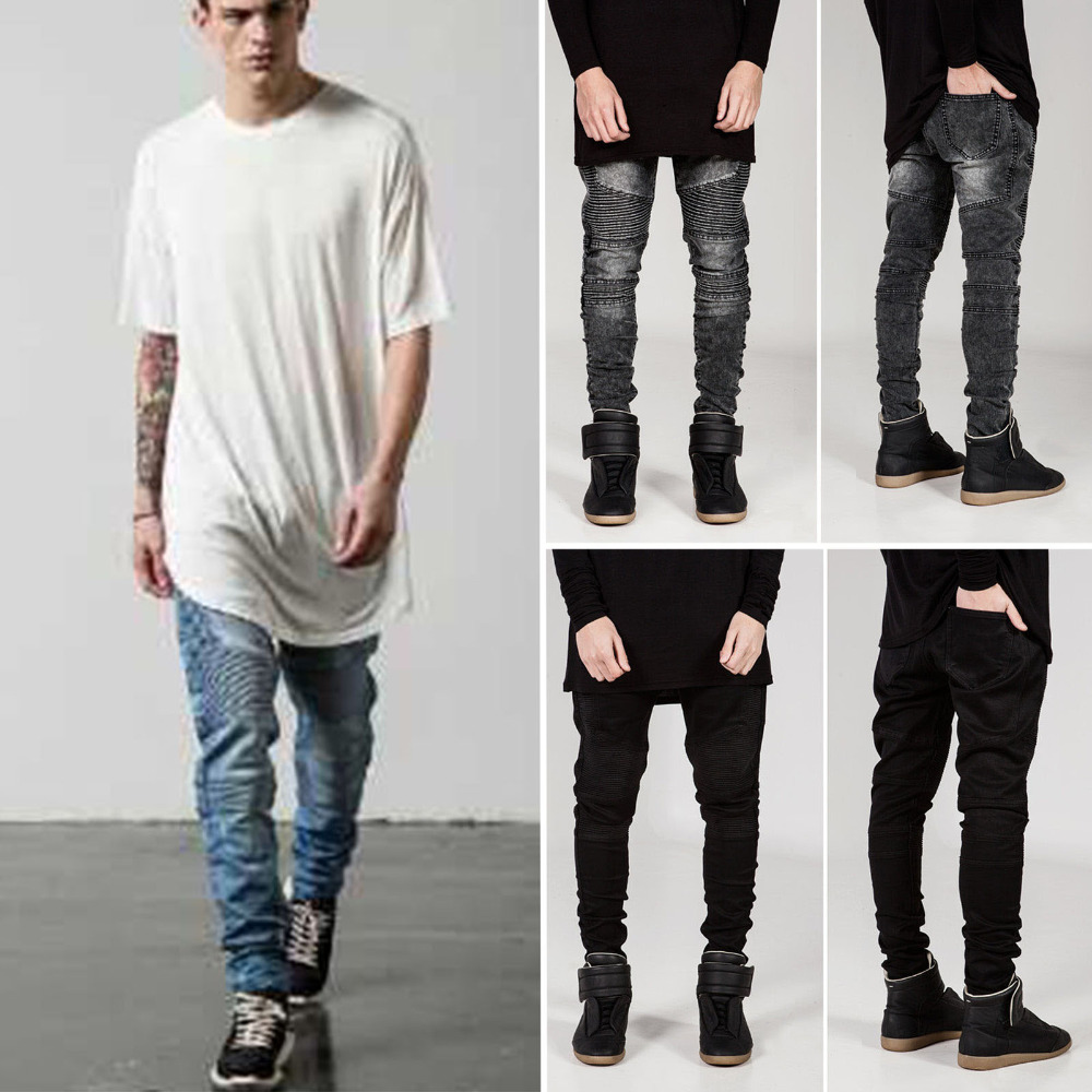 Aliexpress.com : Buy Men's Denim Pants Pleated Distressed Straight ...