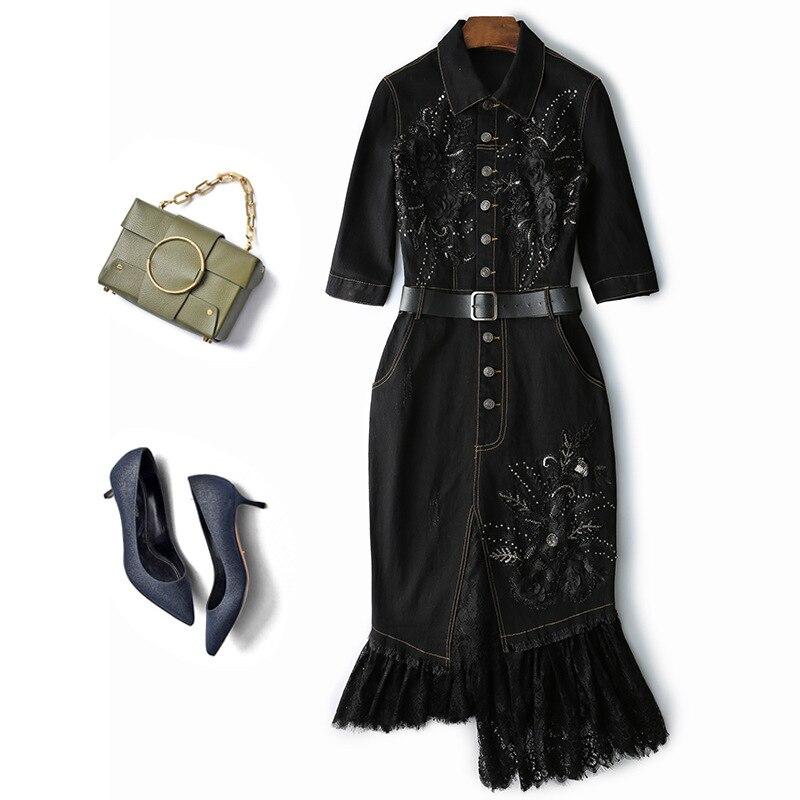 Appliques 3D plus longues enveloppées hanche volants queue de poisson perles robe femme dentelle brodée avec perlée robe en denim pailleté wq1676