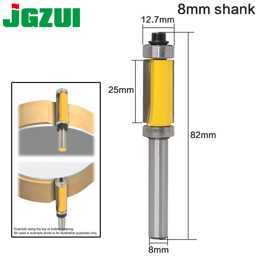 1pcs Flush Trim Router Bit Top & Bottom Bearing 8'' Shank Woodworking Tool Woodworking Router Bits