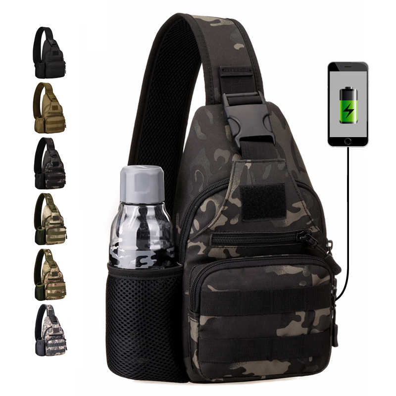 New USB Chest Bag Single Shoulder Camping Backpack Military Tactical Sports Bags Outdoor Hiking Army Mochlia Molle Camo Sack