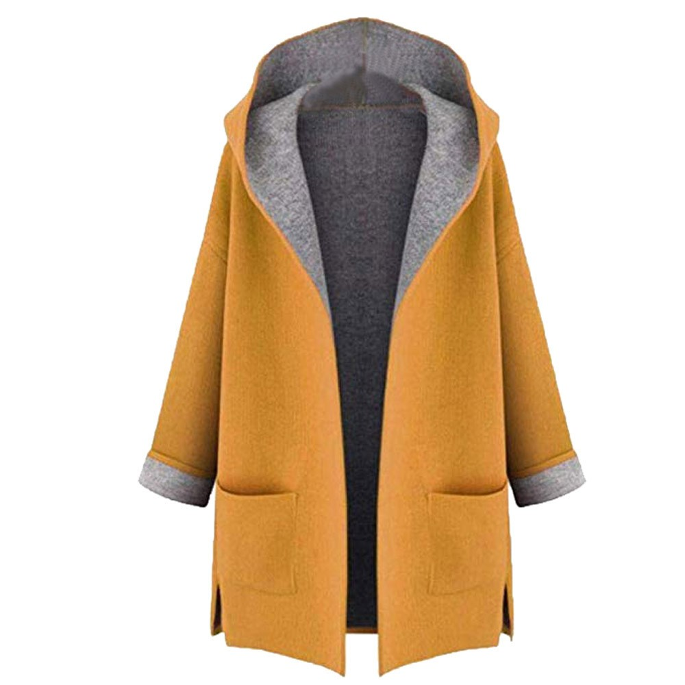 Women's Fahion Coat Jacket Medium Long Large Size Loose Front Open Coats Oversize Hoodies Jacket Overcoat Top pocket female