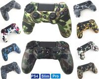 Durable Camouflage Camo Silicone Gel Guards sleeve Skin Grips Cover Case Caps For Playstation 4 PS4 Pro PS4 Slim Gamepad Protect