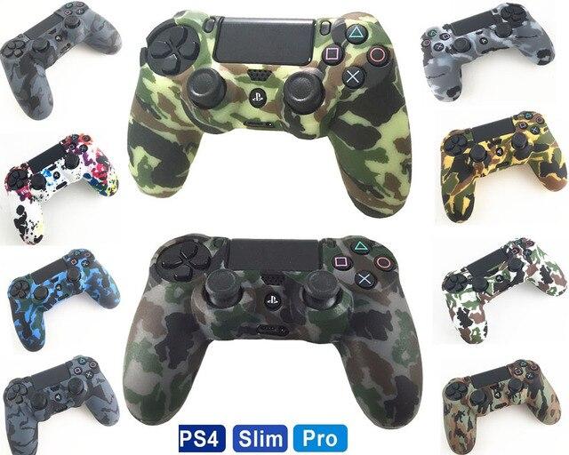 PS4 Akcesoria Żel Silikonowy Straż rękawem Skóry Uchwyty Pokrywy Skrzynka Czapki Dla Playstation 4 PS4 Pro Slim Trwałe Camouflage Camo
