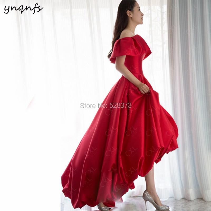 YNQNFS ED172 Real Elegant Off Shoulder Red Homecoming   Dresses   High Low Vestido de Novia Vintage 50S 60S   Bridesmaid     Dress