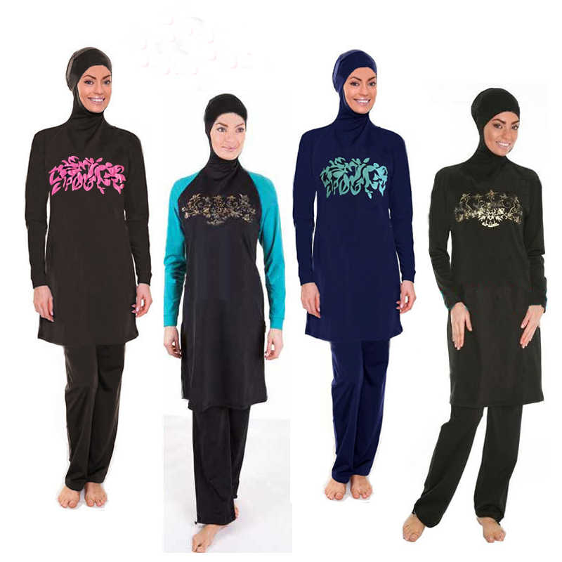 53bf1aa53e3 Detail Feedback Questions about Brand Black Modest Arab Islamic Swimwear  Women Girls Full Covered 2 Pieces Hijab Muslim Swimsuit Plus Size High  Quality ...