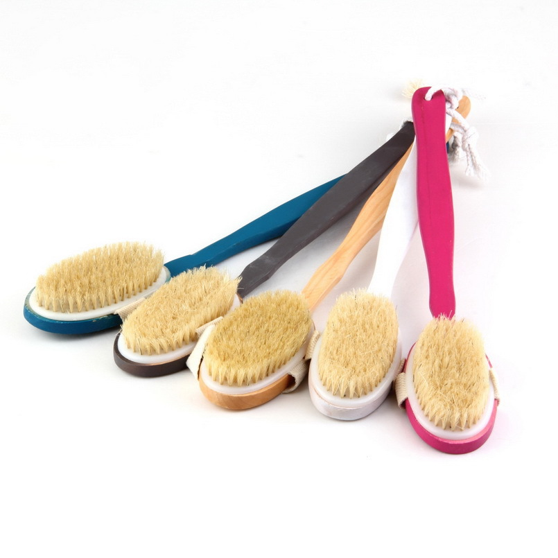 1 Pcs Natural Long Wood Wooden Body Brush Set Massager Bath Shower Back Scrubber Worldwide