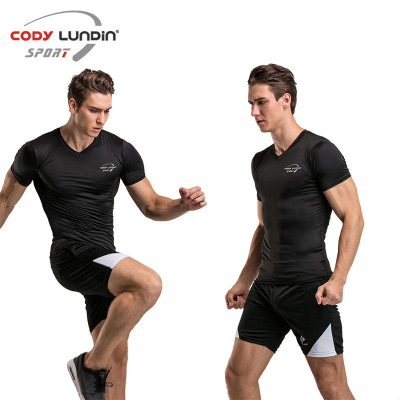 Codylundin T-Shirt Short Sleeve V-Neck Tight Flexible Top Quick-Dry Men Gym Training Exercise