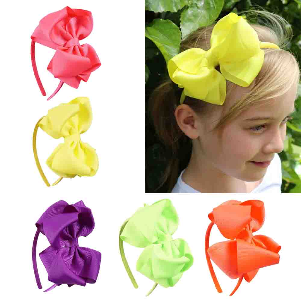 12PCS/LOT Neon Color Hairband Handmade Boutique Hair Bow hair band ribbon Bow Children Hair Accessories Hair Bands For Girls pretty girls boutique shining glitter bow hair bands for dance party children toddler hair accessories