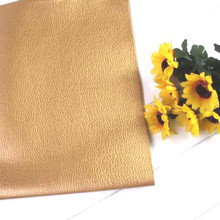 Large Pebbled Litchi Pattern Faux PU Leather Fabric Faux Artificial Synthetic Leather Fabric Gold DIY Sewing Patchwork Material 6pcs 20x22cm shinny glitter fabric diy sewing patchwork faux leather upholstery fabric hnadicarft diy bow accessories material