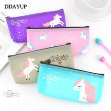 цена на Kawaii Unicorn Silicone Candy colors Pencil Bag Case Stationery Storage Organizer Bag School Office Supply