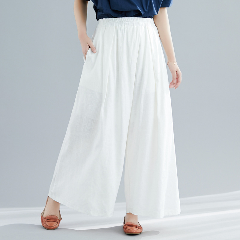 Johnature New Korean Casual Plus Size High Waist Linen   Wide     Leg     Pants   2019 Summer Loose Solid Color Elastic Waist Women   Pants