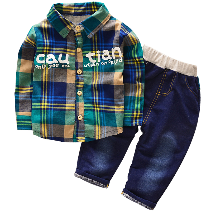 2018 new childrens spring autumn shirt suit childrens clothing 0-5 years boy girl plaid letter T-shirt + soft cow pants suit