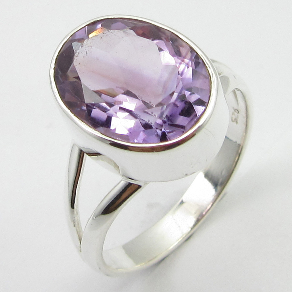 Faceted Amethysts Ring Sz 8.5 Solid Silver Stone Jewelry Unique Designed
