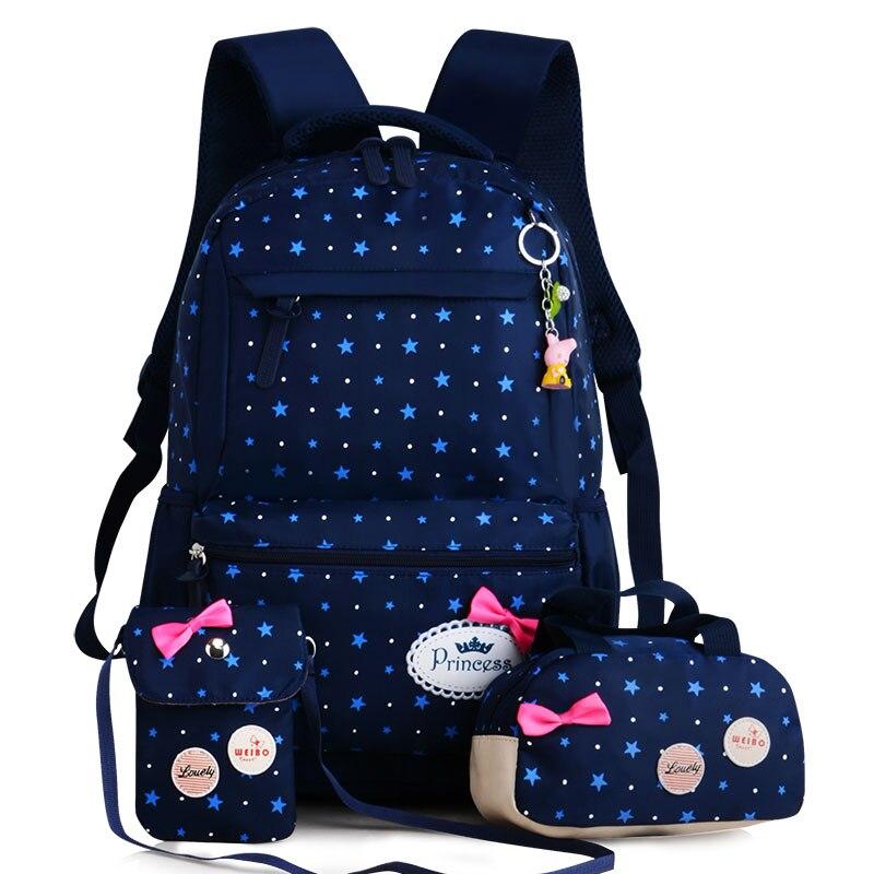 Новая мода детская школьный Начальная школа для девочек 3-6 Класс Принцесса рюкзак Водонепроницаемый из трех частей рюкзак 6 цветов