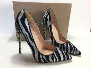 Image 1 - Keshangjia  spring autumn fashion PU pumps high heels  point  toe shoes woman striped dress shoes office lady