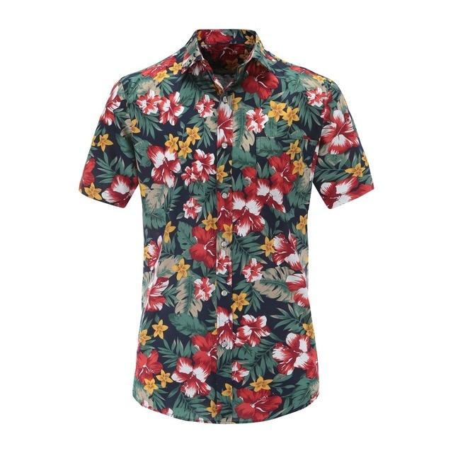 b1fe5a09f268 Jeetoo Summer Hawaiian Short Sleeve Shirt Men Cotton Flamingos Floral  Printed Casual Dress Shirts Men Clothes 2018 Fashion 3XL
