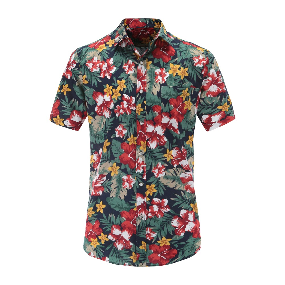 Jeetoo Summer Hawaiian Short Sleeve Shirt Men Cotton Flamingos Floral Printed Casual Dress Shirts Men Clothes 2018 Fashion 3XL