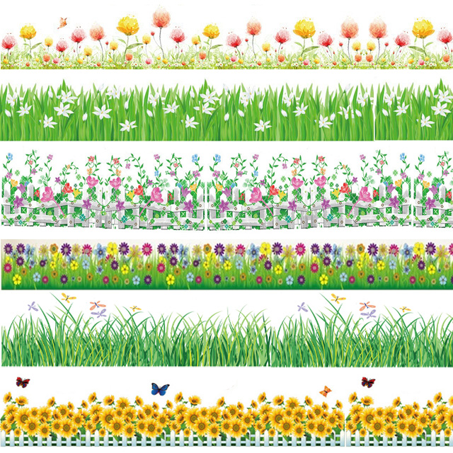 2017 spring flower baseboard wall stickers grass plants border wallpaper home bedroom nursery decoration garden style decals