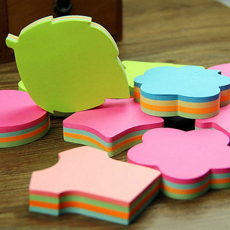 100pcs/set Colorful Memo Pad Heart Stars Leaf Sticky Notes Planner Stickers For Book Mark Office School Supplies Stationery