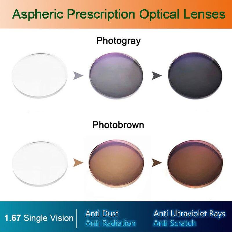 1.67 Lentes Fotocromáticas Lentes de Prescrição Única Visão Óptica Asférica Revestimento Rápida e Profunda Cor Mudança de Desempenho