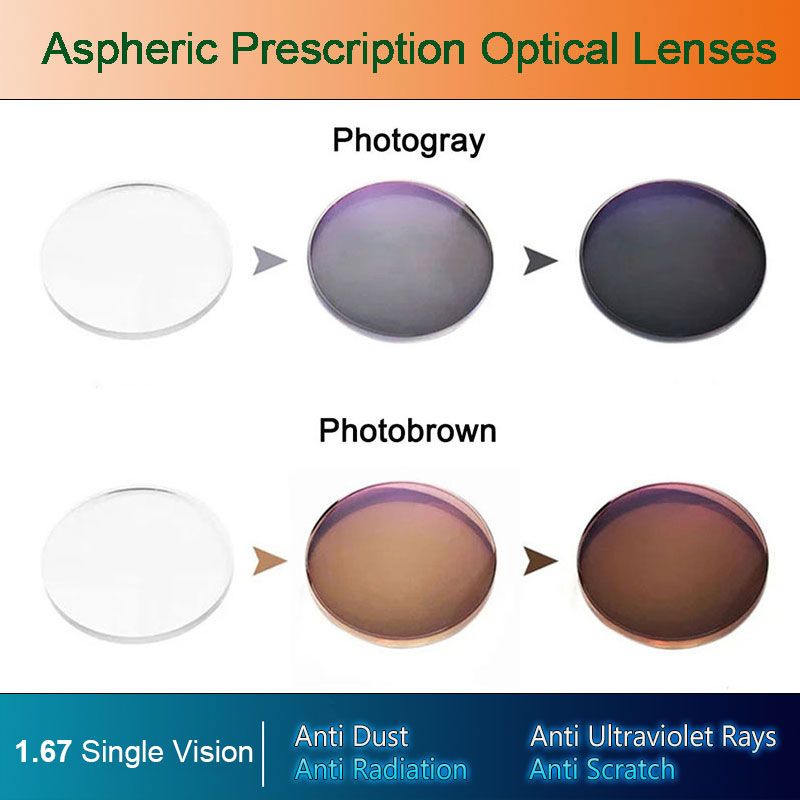 1.67 Photochromic Single Vision Optical Aspheric Eyes Prescription Lens and Deep Color Coating Change Performance