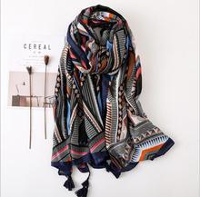 Vintage Contrast geometric leaf desert national wind scarf Women long silk shade travel big shawl