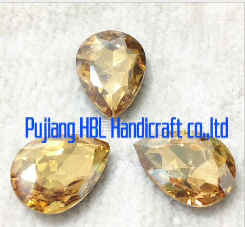 Champagne Gold Waterdrop Glass Rhinestone Sew On Crystal Glass Beads For Formal Dresses Wedding Clothes Deciration