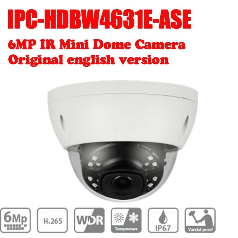 Free Shipping DAHUA CCTV IP Camera 6MP IR Mini Dome Network Camera IP67 IK10 With POE without Logo IPC-HDBW4631E-ASE free shipping dahua ip camera cctv 6mp wdr ir eyeball network camera with poe ip67 without logo ipc hdw5631r ze