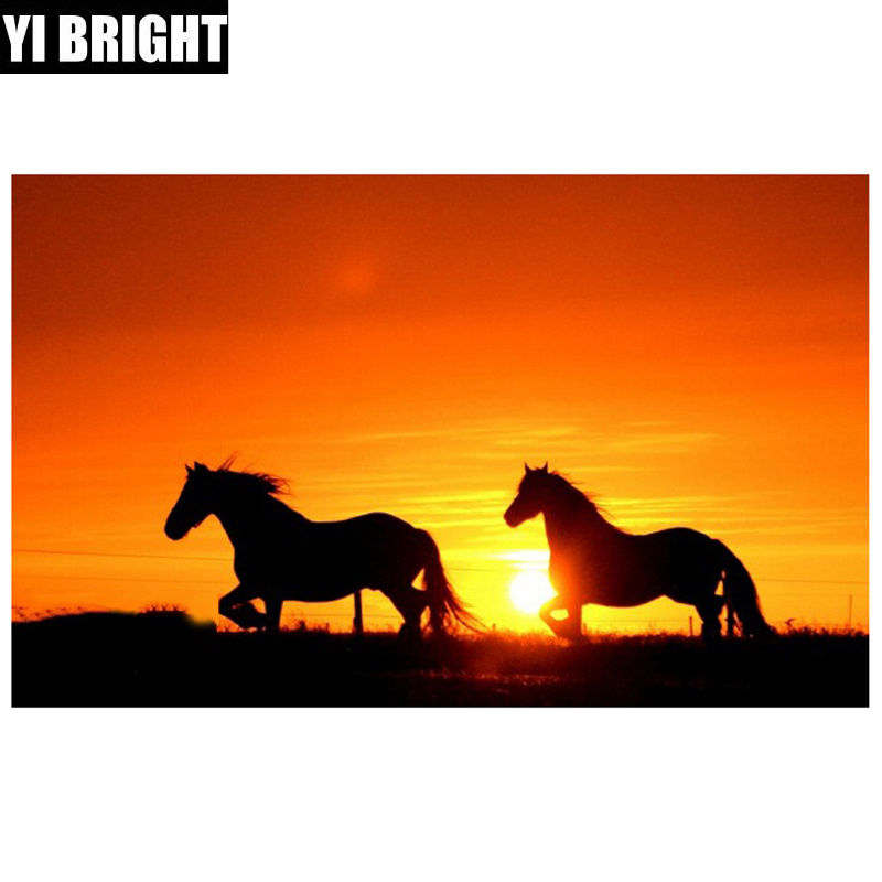 5D Full DIY Square/Round Diamond Painting Sunset horse Diamond Embroidery Cross Stitch Needlework Home Decorative Mosaic XPZ