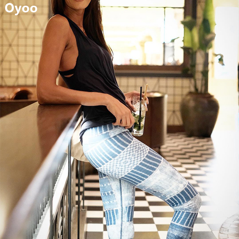 Oyoo Cute Printed Athletic Yoga Leggings Spandex Gym Legging High Waisted Tummy Control Fitness Jogging Pants Gym Clothes