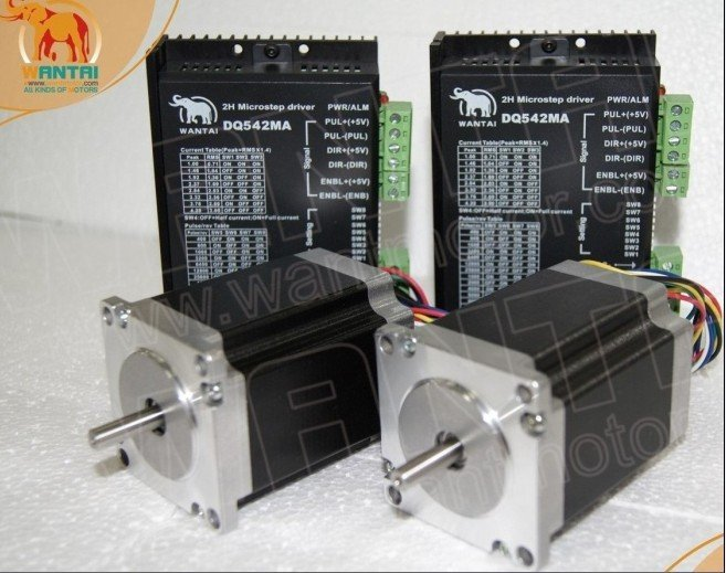 цена на Best Sell! CNC Wantai 2 Axis Nema23 Stepper Motor 57BYGH633 270oz-in+Driver DQ542MA 4.2A 50V 125Micro Mill Laser Engraver Kit
