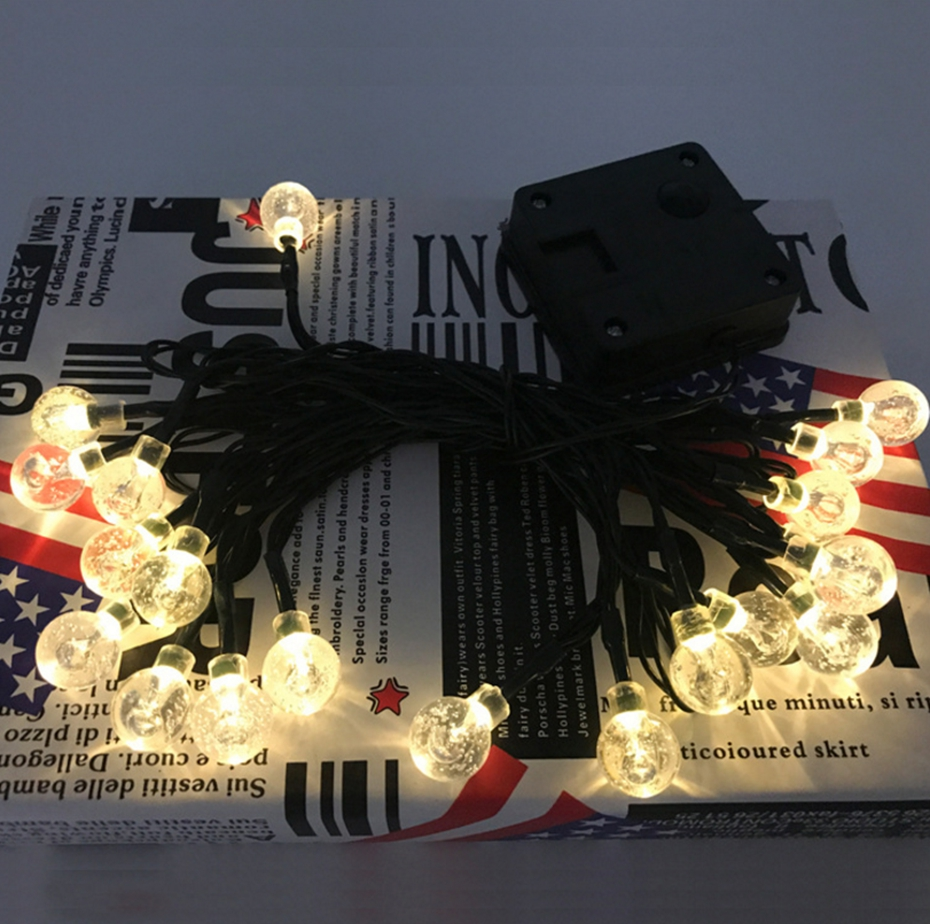 YINGTOUMAN Bubble Ball LED Solar Cell Type 20LED Lamp Christmas String Lights Holiday Party Decoration Light Garden Light 5m