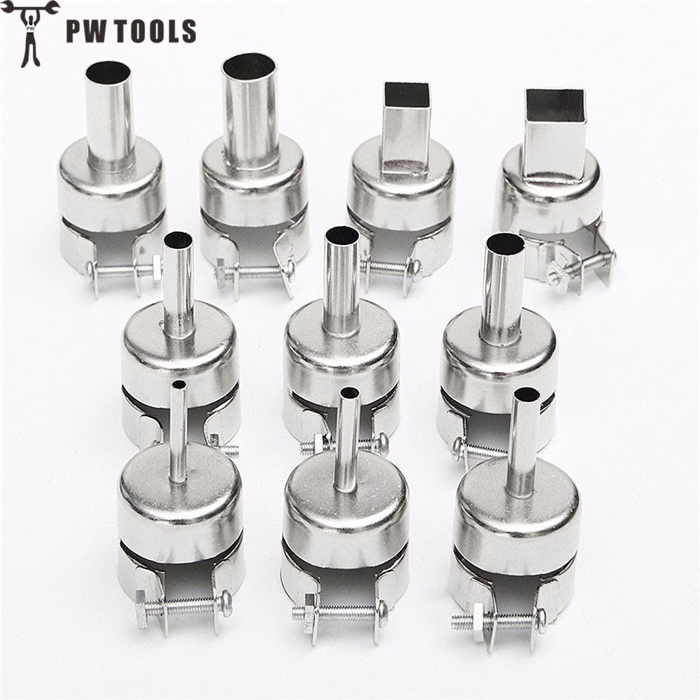10 pcs Heat Gun Nozzles Spray Head Stainless Steel Hot Air Gun Nozzle High Quality 3-12 mm Muzzle include Square and Round high quality sandblasting gun kit with 3 nozzles
