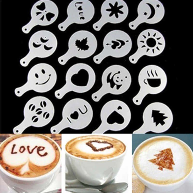 16Pcs/lot Coffee Latte Cappuccino Barista Art Stencils Cake Duster Templates Coffee Accessories
