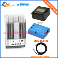 Solar cell battery charger controller Tracer1215BN bluetooth function eBOX BLE 01 temperature sensor and MT50 10A 12v 24v auto