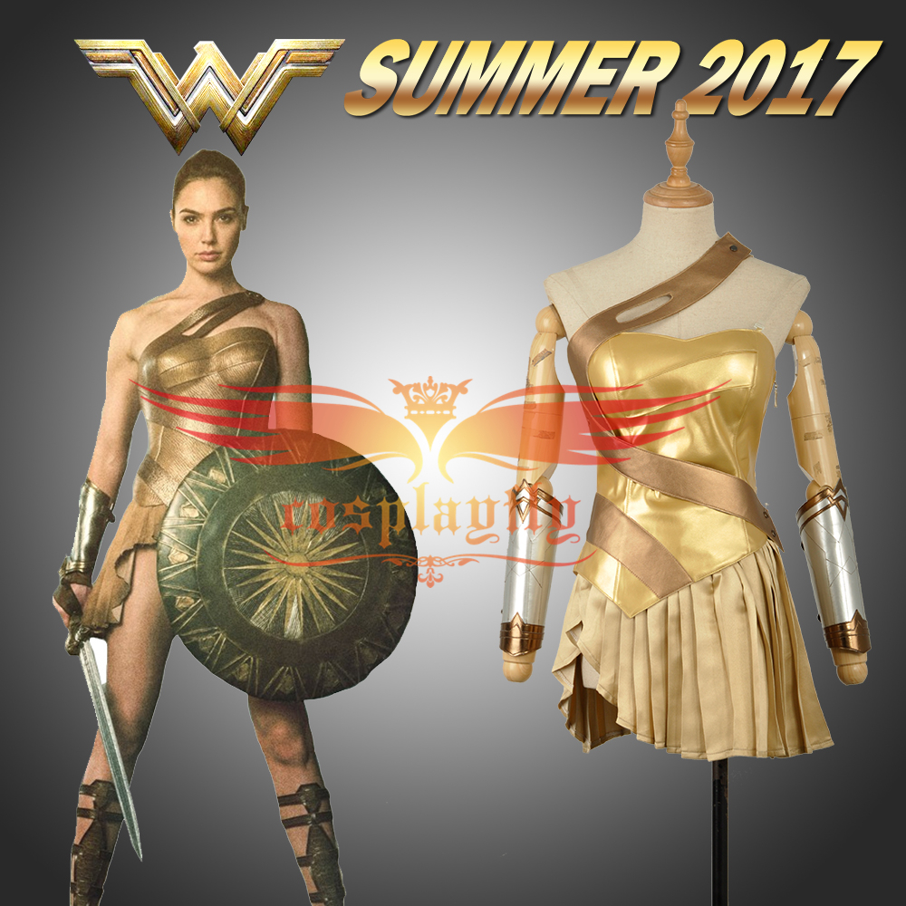Film Batman v Superman:Dawn of Justice Wonder Woman Cosplay Golden Dress Skirt Sexy Costume Clothing Adult Summer Version W1167