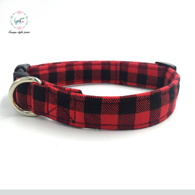 Red and Black Plaid Collar set with Bow Tie 1