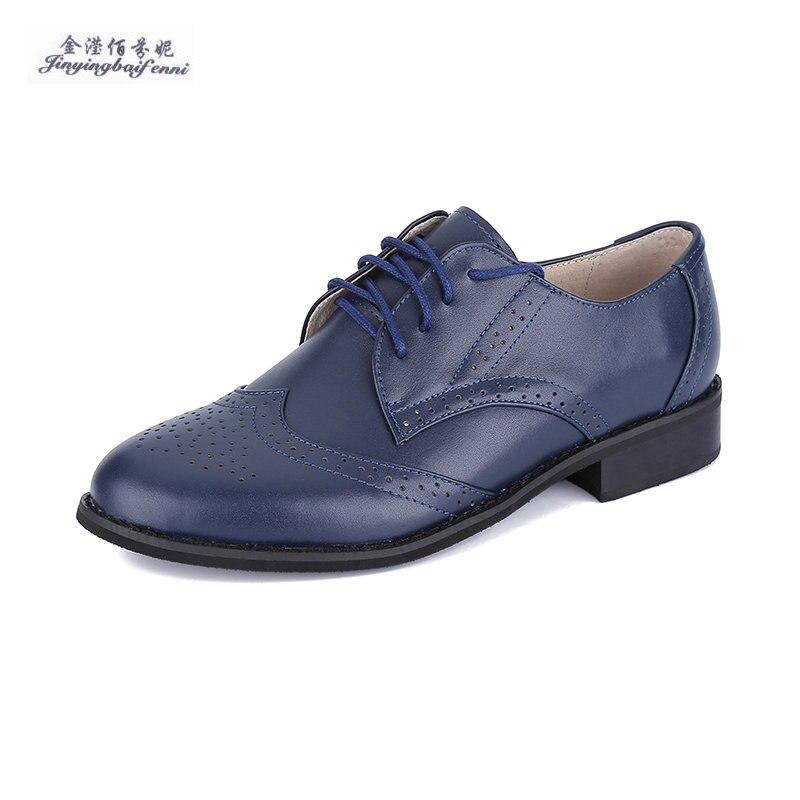 De Del Mujeres La Flats blue Bullock Femeninos Oxford Marca Casuales 2018 Cordón Señora Cuero Zapatos blue Genuino Para Black EHRx5wEqC8