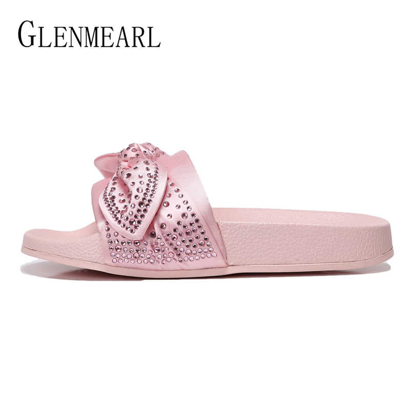 b23bc9af8 Women Slippers Summers Shoes Platform Slip On Beach Shoes Woman  Butterfly-knot Rhinestone Female Sliders