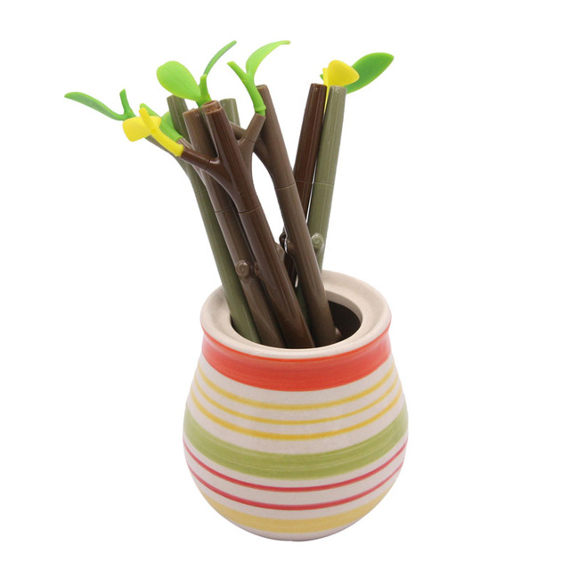 Twórcze Kawaii Gałęzie Gel Pen Koloru Liści Roślin Dekoracje Biurowe