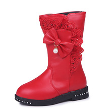 Autumn Winter Girls Boots for Kids Knee-high Leather Boots Fashion princess Children Boots Fur Warm Snow Boots Waterproof Shoes fashion girls children short boots kids leather boots high heels winter warm shoes girls children kids princess boots size 27 38