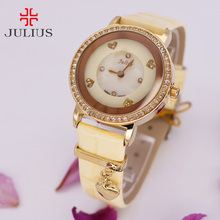 Top Julius Lady Women's Watch Elegant Shell Rotate Spin Heart Hand Fashion Hours Bracelet Leather Girl Birthday Gift