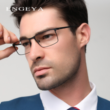 ENGEYA Optical Metal Glasses Frame Men Retro Clear Myopia Prescription Eyewear Square Designer Eyeglasses Unique Hinge