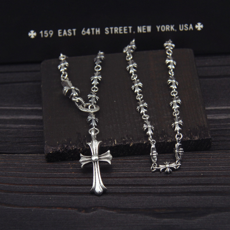 S925 Sterling Silver Retro Thai Silver Punk Style Necklace Men And Women Crusader Sweater Chain Sets Necklace tardoo punk style classic silver chain necklace for women
