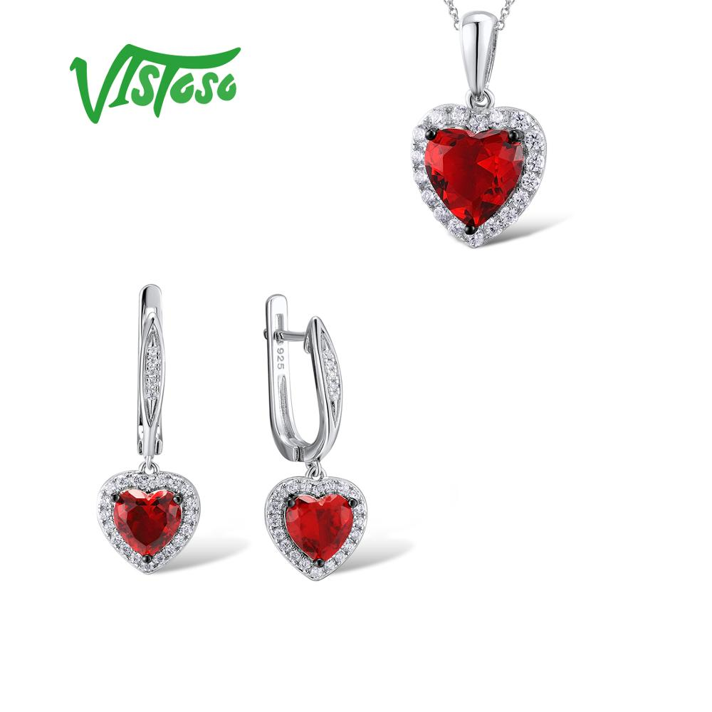 VISTOSO Jewelry Sets For Woman Red Crystal Stones Jewelry Set Heart Earrings Pendant 925 Sterling Silver
