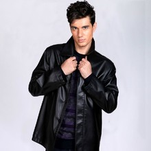 Free transport Hot new Men's informal leather-based jacket black washed leather-based massive lapels add fats to extend leather-based coats males jackets